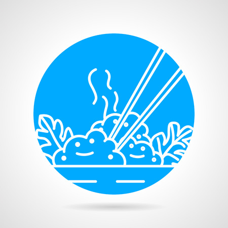 Abstract round blue vector icon with white line elements of rice dish with chopsticks on gray background.