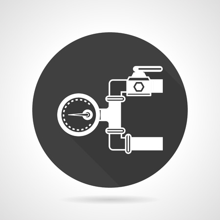 manometer: Flat round black vector icon with white silhouette pipeline with manometer on gray background.
