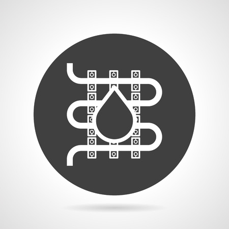 hydraulic: Flat black round vector icon with white silhouette element of hydraulic heated floor with drop on gray background.