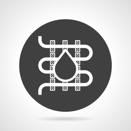 idraulico: Piatto nero icone vettoriali rotondo con silhouette elemento bianco di idraulica pavimento riscaldato con goccia su sfondo grigio. Vettoriali