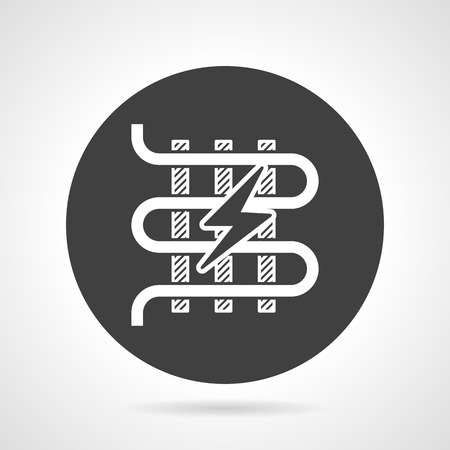 exchanger: Flat black round vector icon with white silhouette element of electric heated floor with lightening on gray background.