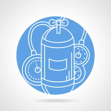 aqualung: Abstract blue round vector icon with white line single aqualung tank with valve and console for diving on gray background.