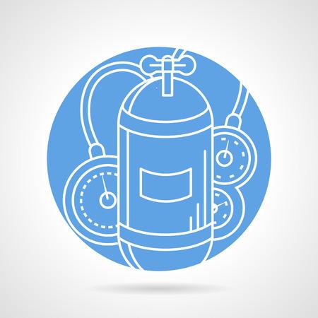 aqualung: Astratto blu icone vettoriali rotondo con linea bianca solo serbatoio respiratore con valvola e console per le immersioni su sfondo grigio.