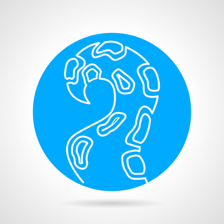 촉수: Blue round vector icon with white line single octopus tentacle on gray background.