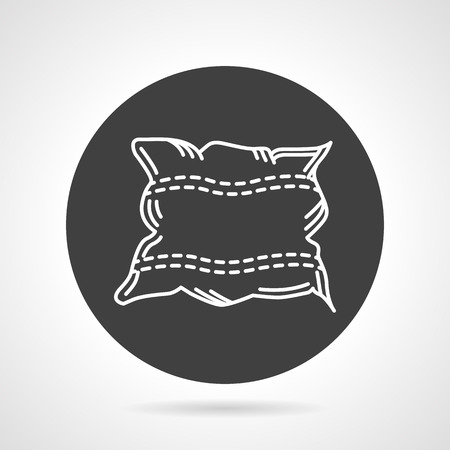 Flat black round vector icon with white line square pillow on gray background. Illustration