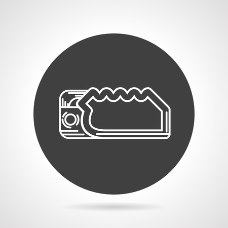 descender: Flat black round vector icon with white line descender device on gray background.