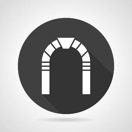 Flat black round vector icon with white archway on gray background.