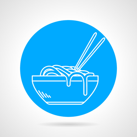 ramen: Blue round vector icon with white line dish with noodles or ramen on gray background.