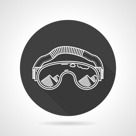 eyewear: Flat black round vector icon with white line sports goggles on gray background.