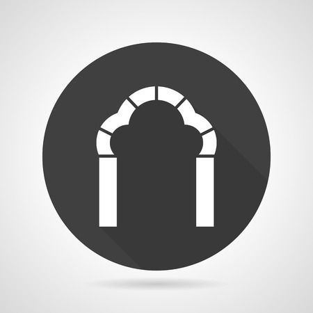archway: Flat black round vector icon with white silhouette trefoil archway on gray background.