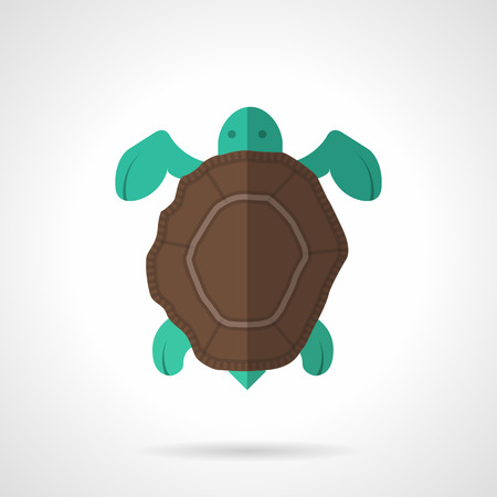 carapace: Flat color design vector icon for sea turtle with brown carapace on white background.