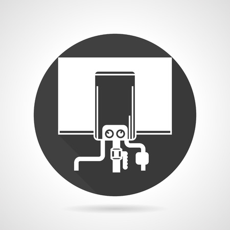 Flat black round vector icon with white silhouette boiler with pipeline on gray background.