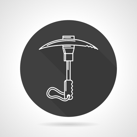 ice axe: Flat black round vector icon with white line ice axe for extreme hike on gray background.