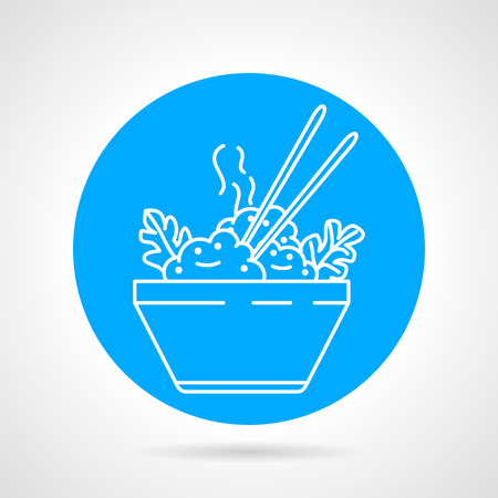 boiled: Blue round vector icon with white line dish with boiled rice, vegetables and chopsticks on gray background. Asian food menu