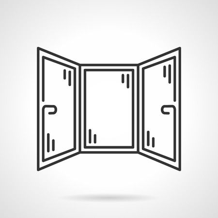 triple: Black line design vector icon for triple sections window for corner room or balcony on white background. Illustration