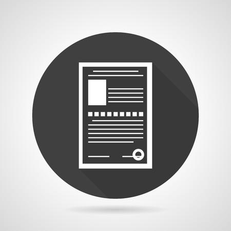datos personales: Piso icono negro del vector redondo con forma de documento contorno blanco con datos personales sobre fondo gris.
