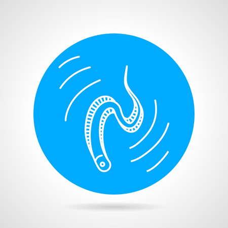 eel: Blue round design vector icon with white line moving eel on gray background. Illustration