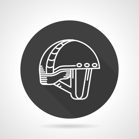 ski wear: Round black flat design vector icon with white line helmet for extreme sport on gray background