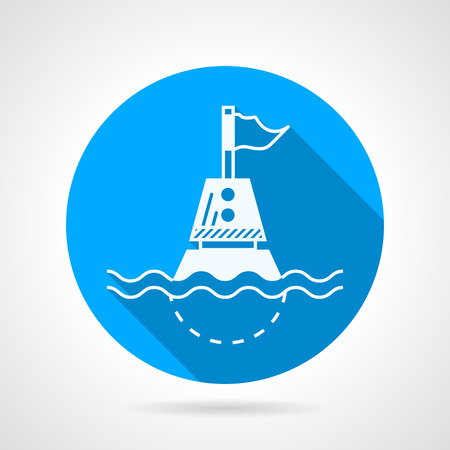 Blue flat round icon with white contour marine directional buoy on gray background.