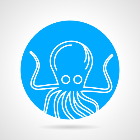 big eyes: Single abstract round icon with white contour octopus with big eyes on gray background.