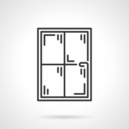 window pane: Black flat line icon for simple window pane with four  sections on white background.
