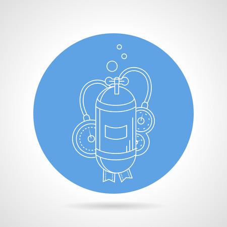 aqualung: Blue round icon with white line single cylinder for aqualung on gray background. Illustration