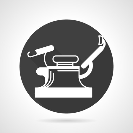 gynecology: Black flat round icon with white silhouette gynecology chair on gray background. Illustration