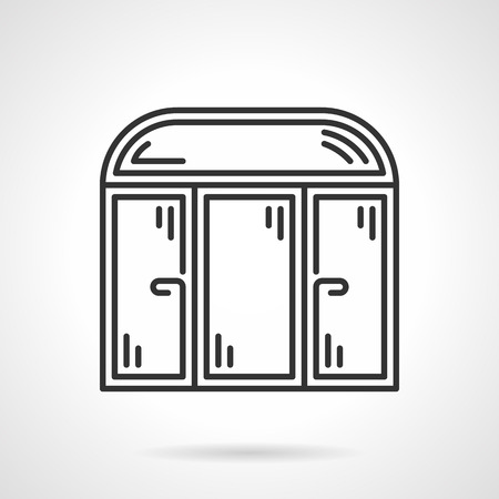 Black flat line vector icon for window with arch section for store or cafe on white background.