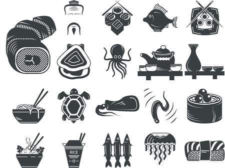sardines: Set of black silhouette vector icons for seafood and asian menu elements on white background. Illustration