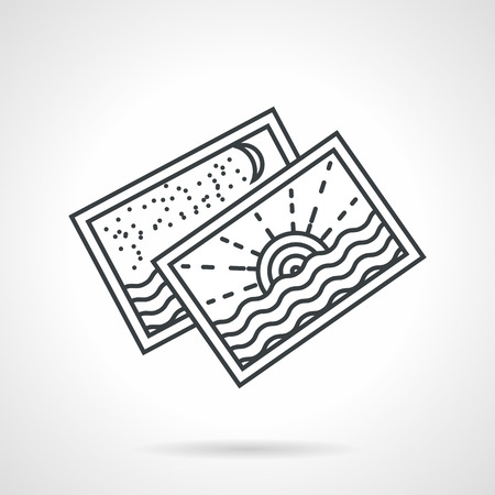 seascapes: Two postcards with night and sunset seascapes for summer vacations. Flat black line vector icon on white background.