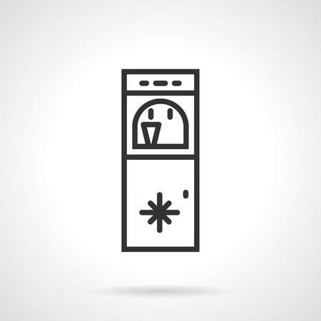 water cooler: Vertical floor water cooler with cup. Flat black line vector icon on white background. Illustration