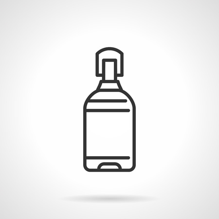 water cooler: Large water bottle for water cooler. Flat black line vector icon on white background.