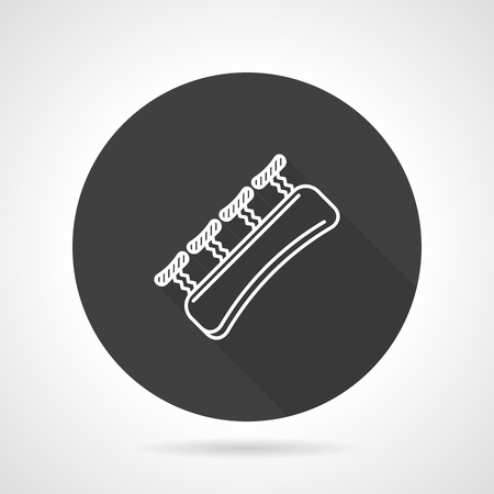 gripper: Finger expander or gripper for climbing training. Flat black round vector icon on gray background.