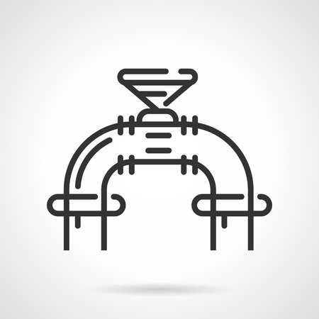 stop gate valve: Single industrial valve on pipeline. Flat black line vector icon on gray background. Illustration