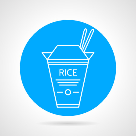 chinese takeout box: Cardboard pack with rice and chopsticks for takeaway menu. Blue round vector icon on gray background.
