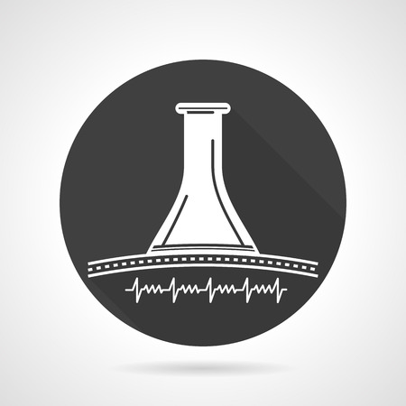 test tube babies: Abstract obstetrics tool wooden stethoscope for listening fetus  heartbeat. Flat black round vector icon on gray background.