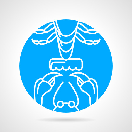 tail: Crayfish claws and tail elements. Abstract blue round vector icon on gray background.