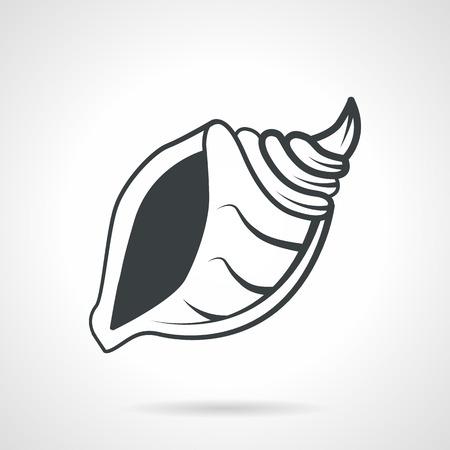 gastropod: Black contour spiral shell of gastropod. Flat vector icon on white background. Illustration