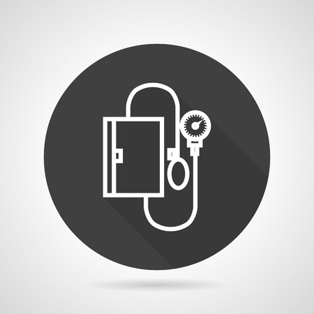 hypertensive: Flat black round vector icon with white silhouette blood pressure measuring device on gray background.