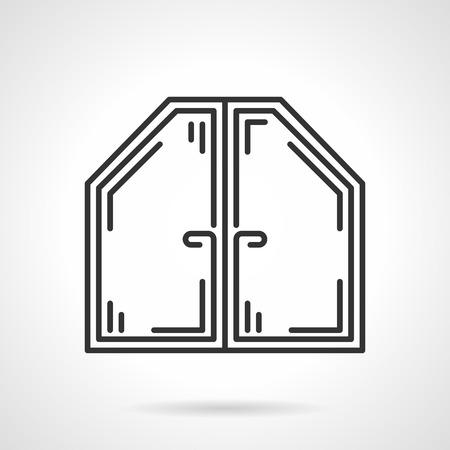 Platte zwarte lijn vector pictogram van zolder of het dak moderne plastic venster op een witte achtergrond. Stock Illustratie