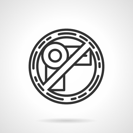 Prohibition sign of video recording. Flat black line vector icon on white background. Vector