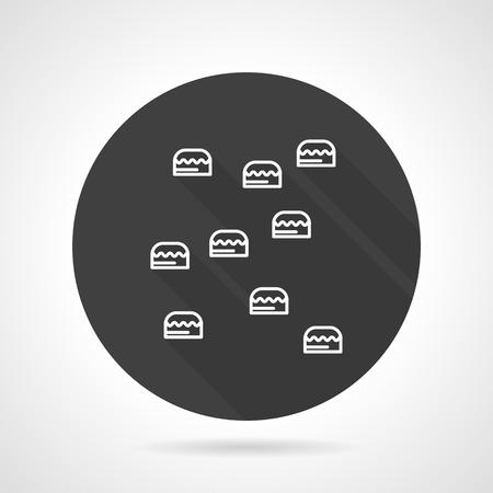 bergsteiger: Wand mit Griffe f�r Bergsteiger Ausbildung. Flache schwarze runde Vektor-Symbol auf grauem Hintergrund.