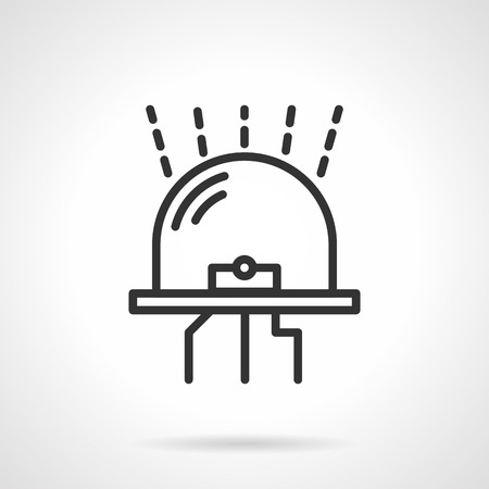 light emitting diode: Simple glowing dot diode. Flat black line vector icon on white background.