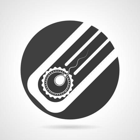 semen: Nero piatto rotondo icona del disegno vettoriale con elementi del profilo bianchi per la fecondazione artificiale su sfondo grigio.