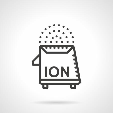 ionizer: Flat black line design vector icon for domestic ionizer on white background Illustration