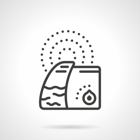 humidifier: Flat black line design vector icon for domestic humidifier with ionizer on white background.