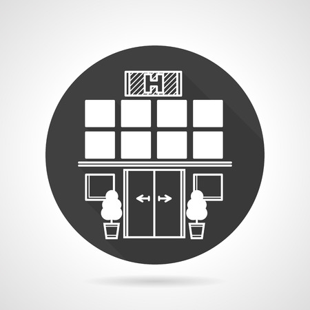 an exterior: Flat black round vector icon with white contour elements of hospital exterior on gray background. Illustration