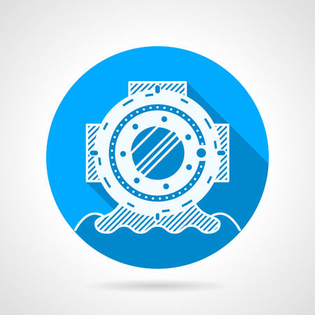 Blue flat round vector icon with white contour heavy helmet for scuba diving on gray  background. Long shadow design Vector