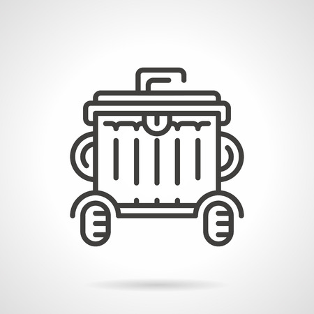wheeled: Black flat line vector icon for outdoors wheeled garbage can a front view on white background.