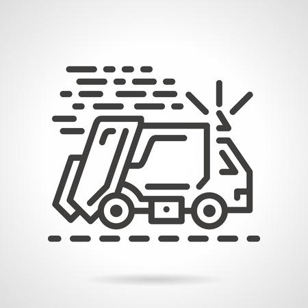 recolector de basura: Negro icono plana vector fila para cami�n de la basura en movimiento sobre fondo blanco. Vectores